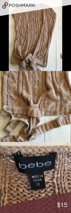 Bebe Tie Front Knitted Short Sleeved Sweater Bebe Tie Front Knitted Short Sleeved Sweater bebe Sweaters