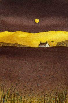 Yellow Moon., Watercolor painting by JULIE MORRIS | Artfinder