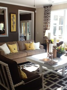 Brown, Yellow, Geometric Pattern, white, living / family room decor. Couch, chairs lovely Designer Unknown