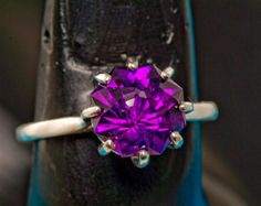 Gem Grade Uruguyan Amethyst Rose Petal Cut Color Engagement Ring 605.00