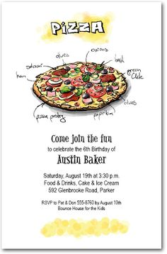Pizza Supreme Party Invitations - perfect for kid's birthday party invitations, slumber party invitations and more | Come see our entire invitation collection at Announcingit.com Movie Night Invitations, Slumber Party Invitations, Unique Invitations, Invites, Supreme Pizza, Movie Night Party, Get The Party Started, Pizza Party, Slumber Parties