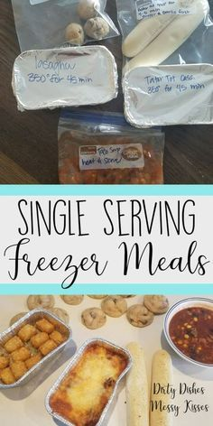 Single Serving Freezer Meals Cooking for one and need an easy go to? Here are three easy dinners you can throw in the freezer for the days you dont feel like cooking. Individual Freezer Meals, Single Serve Meals, Budget Freezer Meals, Single Serving Recipes, Frugal Meals, Meals For Two, Easy Meals, Inexpensive Meals, Budget Recipes