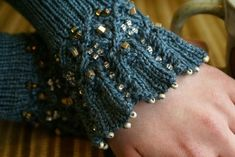 Aquitaine/ Beaded Mitts and Cuffs/ by Sivia/Pattern, Earthfaire Lace Knitting, Knitting Patterns, Crochet Patterns, Knit Mittens, Knitted Gloves, Crochet Hooks, Knit Crochet, Wrist Warmers, Knitting Projects