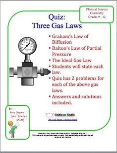 gas law concepts of Dalton's Law, Graham's Law, and the Ideal Gas Law ...