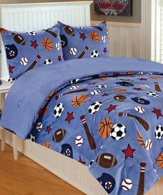 This Sports Microplush Twin Bedding Set is perfect! #zulilyfinds #thro #throbyml #marlolorenz #bedding #kids #microplush #prints #designs #patterns #style #comfy #cozy #share #shop #spread #like #like #love #decorate #babies #sets #zulily #sale #flashsale #deals