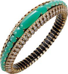 CARTIER. Bracelet – or jaune, chrysoprases, laque noire, diamants taille brillant