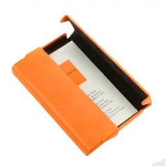 Business and credit card holder made from an aluminum base covered in leather imitation featuring a horizontal self-locking system. Signature gift box included, Made in Italy. Business Card Holders, Business Cards, Urban Bags, Small Leather Goods, Things To Buy, Gift Wrapping, Orange, How To Make, Gifts