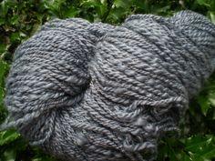 Handspun Yarn in Gray Merino and Silk 2 Ply by allbooks on Etsy