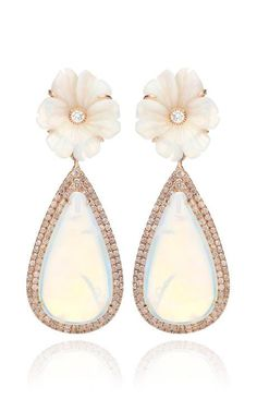 18K Pink Gold And White Opal Flower Earrings by Nina Runsdorf for Preorder on Moda Operandi