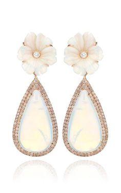 18K Pink Gold And White Opal Flower Earrings by Nina Runsdorf for Preorder on Moda Operandi