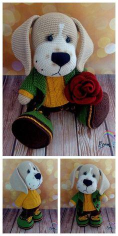 Crochet dachshund dog amigurumi free pattern – Free Amigurumi Patterns - Knitting For Kids Crochet Teddy, Crochet Bear, Crochet Patterns Amigurumi, Cute Crochet, Amigurumi Doll, Crochet Animals, Crochet Dolls, Stuffed Animal Patterns, Stuffed Animals