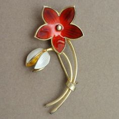 Red & White Flower Pin Vintage Sterling Silver Vermeil & Enamel Ivar Holt Norway | eBay