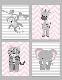 Zoo Nursery Decor, Gray and Pink Nursery, Girl Zoo Nursery, Elephant Nursery, Safari Nursery, Jungle Decor, Monkey, Giraffe, Tiger Nursery by SweetPeaNurseryArt on Etsy