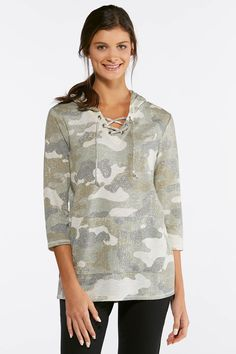c6b223208549f Camo Lace Up Hoodie Tops Cato Fashions
