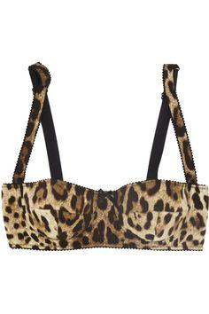 Dolce & Gabbana Leopard-print stretch-silk balconette bra