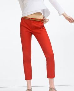 Image 2 of MID-RISE TROUSERS WITH BELT from Zara