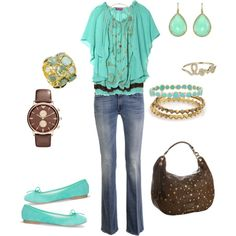 This is a nice outfit for the bride to be... Add the groom to be in a brown top and jeans and you're good to go!