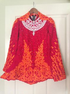 Adorable Red Celtic Star Irish Dance Dress Solo Costume For Sale