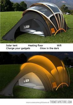 This ain't no Boy Scout tent: the Orange Solar Concept Tent packs photovoltaic fabric, RFID-activated lighting, underfloor heating, a Wi-Fi touchscreen and induction charger.