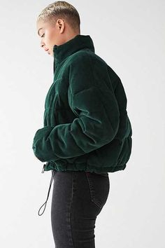 Shop UO Corduroy Puffer Jacket at Urban Outfitters today. Cold Weather Outfits, Warm Outfits, Cute Outfits, Vest Jacket, Green Puffer Jacket, Puffer Jackets, Fashion Outfits, Clothes For Women, Urban Outfitters