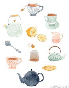 Julianna Swaney - Tea - Amanda E. - - Julianna Swaney - Tea - Amanda E. Tee Illustration, Watercolor Illustration, Watercolor Art, Tee Kunst, Posca Art, Buch Design, Poses References, Tea Art, Art Graphique