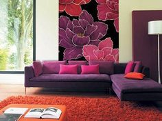 purple, orange, and pink living room