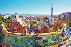 Parque Guell in Barcelona, Spain - designed by architect Antoni Gaudi Barcelona Park Guell, Gaudi Barcelona, Barcelona City, Barcelona Catalonia, Barcelona Website, Barcelona Beach, Barcelona Vacation, Barcelona Travel, Cruises
