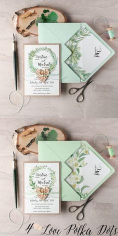Greenery watercolor wedding invitations #greenerywedding
