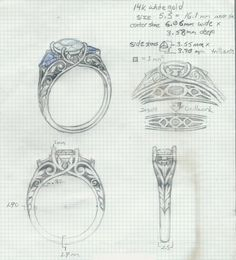 Sketch for an upcoming engagement ring design. The client told me he wanted a diamond center with sapphire accents, and was looking for a nature theme but with a traditional approach. We established a budget and time frame, and selected the stones for the ring. Then I made this technical drawing with proportional dimensions and details. The client approved this sketch and I sent this drawing to the CAD modeler.
