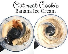 Oatmeal Cookie Banana Ice Cream is ready in just 5 minutes and tastes like dessert but has no-added sugar and is rich in fiber and protein. #icecream #nicecream #Banana #oatmealcookie #cookie #healthydessert Healthy Cookie Recipes, Peanut Butter Recipes, Easy Appetizer Recipes, Healthy Cookies, Healthy Dishes, Healthy Baking, Whole Food Recipes, Snack Recipes, Healthy Food