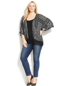 Plus Size Fringed Kimono Cardigan & Slim Tech Fit Straight-Leg Jeans - Plus Size - Macy's