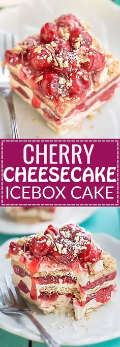 No Bake Cherry Cheesecake Icebox Cake is the perfect easy dessert for summer. Best of all, this recipe only requires 5 ingredients – cream cheese, heavy cream, powdered sugar, graham crackers and cherry pie filling.  Great for making ahead for parties, po