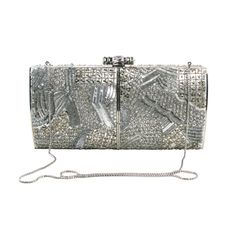 Judith Leiber Silver Crystal Clutch | From a collection of rare vintage handbags and purses at http://www.1stdibs.com/fashion/accessories/handbags-purses/