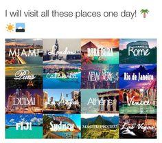 Miami * London * Bora Bora * Rome * Paris * New York * Rio De Janeiro * Dubai * Los Angeles * Fiji * I Want To Travel, Beautiful Places To Travel, Amazing Places, Bora Bora, Fiji, Oh The Places You'll Go, Cool Places To Visit, Dream Vacations, Vacation Spots