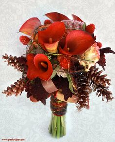 Love this Holiday bridal bouquet with pine cones and the stems wrapped in yarn!