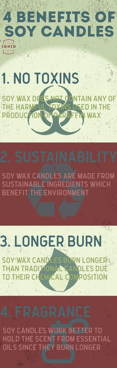 Just four of the top benefits of choosing 100% soy wax candles over any other type of candle.  Visit our profile and learn more.