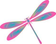 Dragonfly Clip Art | Dragonfly In Flight Blue Green Pink clip art