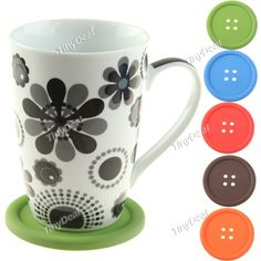 Button Design Thick Felted Pot Cup Mug Coaster Pad Holder Table Mat Tableware Item HLI-83938