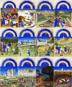 Labours of the months, from The Tres Riches Heures du Duc de Berry, probably the most important illuminated manuscript of the 15th century.