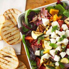 Fresh mozzarella is a great topper for any fresh salad! More garden-fresh salads: http://www.bhg.com/recipes/salads/ideas/garden-fresh-salads/?socsrc=bhgpin011114grilledvegetableandmozzarellaensalada&page=8