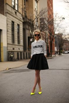 Striped sweater, flared skirt, neon heels, black and white, outfit