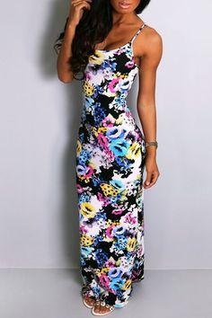 Sexy Women's Spaghetti Strap Floral Print Sleeveless Maxi Dress