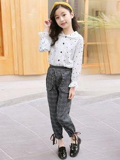 Girls Fashion Clothes, Summer Fashion Outfits, Kids Outfits, Kids Fashion, Korean Fashion Dress, Korean Fashion Casual, Korean Street Fashion, Cool Kids Clothes, Polka Dot Shirt