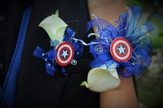 Captain America corsage and boutonniere