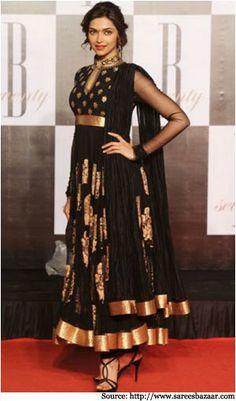 Deepika padukone looking stunning in Black Anarkali suits..