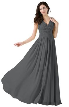 0a722befcaa7 Elegant V-neck Sleeveless Zip up Floor Length Ruching Bridesmaid Dresses  Plum Bridesmaid Dresses