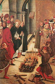 """Nos encontramos ante un cuadro llamado """"La prueba del fuego"""", realizada por Pedro Berruguete."""