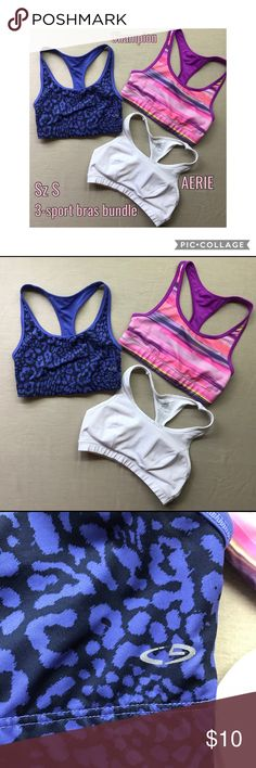 SzS 3-Sport Bras Bundle AERIE/2-Champion 🏆🥇🎽 SzS 3-Sport Bras Bundle AERIE/2-Champion 🏆🥇🎽 The 2 Champion ones are reversible 👍😁 purple/purple/black leopard print and a magenta/magenta/stripe. Super cute. They've always been small, so hardly worn.  The white AERIE one has logo on the back, middle strap. Same thing—always been kinda small and never wore.   Please let me know of any questions. Thanks so much, Christine @mmchappyhearts🐶❤️💁🏻 aerie Intimates & Sleepwear Bras