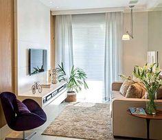 Decoração de Apartamentos Pequenos Home Theater, Small Spaces, Divider, Curtains, Living Room, Furniture, Home Decor, Tvs, Diana