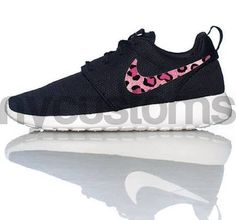 Nike Roshe Run Black White - Pink Leopard - Print Swoosh V3 Edition Custom Womens